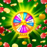 Colorful fortune wheel wins the jackpot. Piles of gold coins. Vector illustration isolated on green background Royalty Free Stock Image
