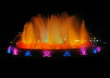 Colorful fountain in Barcelona. Montjuic magic fountain. A lights,colors and music spectacle at night, displayed in magic fountains situated in Barcelona (Spain Stock Photo