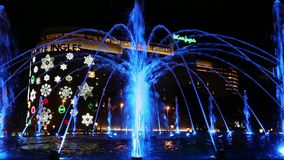 Colorful fountain on Catalunya Plaza stock video footage