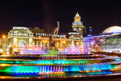 The colorful fountain in front of the Moscow Kiyevskaya station. The colorful fountain in front of the Moscow Kiyevskaya railway station royalty free stock photo