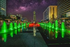Colorful fountain at Gwanghwamun Plaza with statue of Admiral Yin-Sin, Sin and Milky Way in Seoul City.Photo in Seoul, South Korea Stock Photo