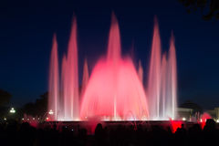 Colorful  fountain Montjuic show   in Barcelona Royalty Free Stock Image