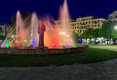 Colorful fountain at night, Corfu city Royalty Free Stock Images