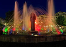 Colorful fountain at night, Corfu city Stock Image