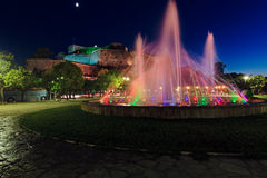 Colorful fountain at night, Corfu city Stock Images