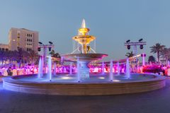 Colorful fountain shot with slow shutter speed. Festive moment in luxury location Stock Photos