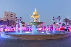 Colorful fountain shot with slow shutter speed. Luxury place in UAE Royalty Free Stock Image