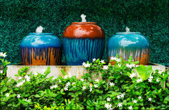 Colorful fountains jar Stock Images