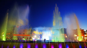 Colorful fountains.