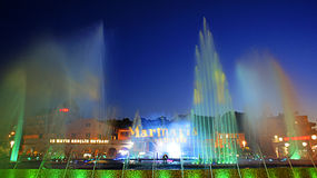 Colorful fountains Stock Photography