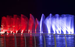 Colorful fountains in Smart City Malta, Malta island, Europe Royalty Free Stock Photography