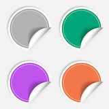 Colorful four blank stickers set. Badge collection in different  colors. Vector illustration Stock Photos