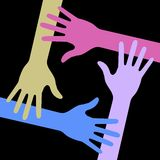 Colorful Four Hands Icon on black background Stock Image