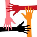 Colorful Four Hands Icon. Vector illustration for your design stock illustration