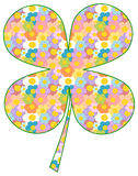 Colorful four leaf clover patterned with cartoon daisy flowers illustration Royalty Free Stock Images