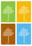 Colorful four seasons trees Royalty Free Stock Photos