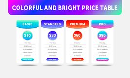 Colorful four tariffs for cloud service, interface for the site vector illustration