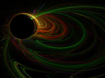 Colorful fractal design. A colorful neon swirl fractal on black background Stock Photos