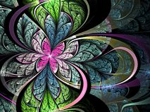 Colorful fractal flower. Digital artwork for creative graphic design Royalty Free Stock Photography