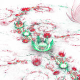 Colorful fractal flowers in snow Stock Image
