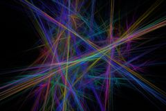 Colorful fractal lines. Abstract fractal chaotic colorful straight lines on a black background vector illustration