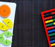 Colorful fractions in mathematics on the classboard. interesting math for kids. education, back to school. Concept stock photography