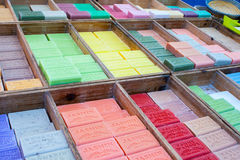 Colorful and fragrant herbal soap market in France. Royalty Free Stock Photography