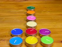 colorful fragrant wax candles royalty free stock images