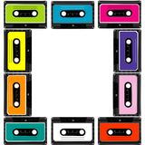 Colorful frame with audio cassettes. On white background Stock Image