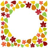 Colorful frame and background of autumn leaves. Vector illustration royalty free illustration