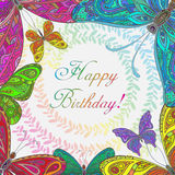 Colorful  frame with butterflies. Royalty Free Stock Photo