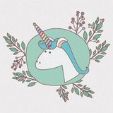 Colorful frame with caricature of male unicorn head with decorative branches Stock Photos