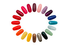 Colorful frame. Figures on nails Stock Photo