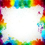 Colorful frame made in splash paint drop blots. On a white background. Vector illustration Royalty Free Stock Photo