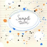 Colorful frame with splash. Colorful splash on paper background. Hand drawn frame Royalty Free Stock Photos
