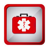 Colorful frame square button with firts aid kit with symbol star of life. Illustration Royalty Free Stock Photography