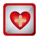 Colorful frame square button heart band aid in cross form Stock Photos