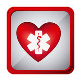 colorful frame square button with heart health symbol and star of life Royalty Free Stock Photo