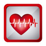 colorful frame square button heart with line vital sign Stock Photos