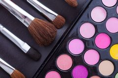 Colorful frame with various makeup products Royalty Free Stock Images
