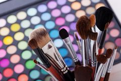 Colorful frame with various makeup products Royalty Free Stock Image
