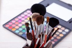 Colorful frame with various makeup products Royalty Free Stock Photo