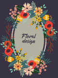 Colorful frame of vintage flowers Royalty Free Stock Photos