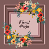 Colorful frame of vintage flowers Royalty Free Stock Photography