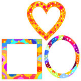 Colorful frames. With stars and dots Stock Photos