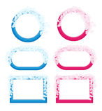 Colorful frames with foam. Various blue and pink frames with foam and bubbles Royalty Free Stock Images
