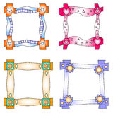 Colorful frames with hearts and flowers. Colorful frames with hearts, flowers and stars Stock Image