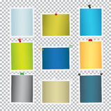 Colorful Frames for Pictures with Pins Vector Set. Colorful frames for pictures with pins and clips set. Paper photos vector template attached with pushpins and Royalty Free Stock Images