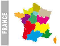 Colorful France administrative and political map Royalty Free Stock Photo