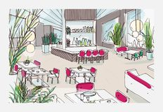 Colorful freehand drawing of restaurant or bistro interior with modern furnishings - tables, chairs, pendant lights. Potted plants. Cafe or bar furnished in Stock Photography
